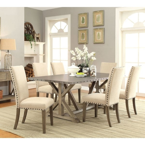 Infini Furnishings Athens 7 Piece Dining Set & Reviews | Wayfair In Cheap Dining Room Chairs (View 11 of 25)