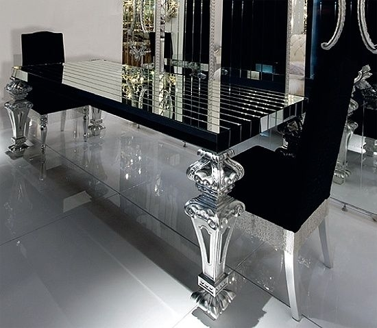 Insanely Gorgeous Dining Room!! Black Glass This Would Look Amazing Inside Black Glass Dining Tables (Image 17 of 25)