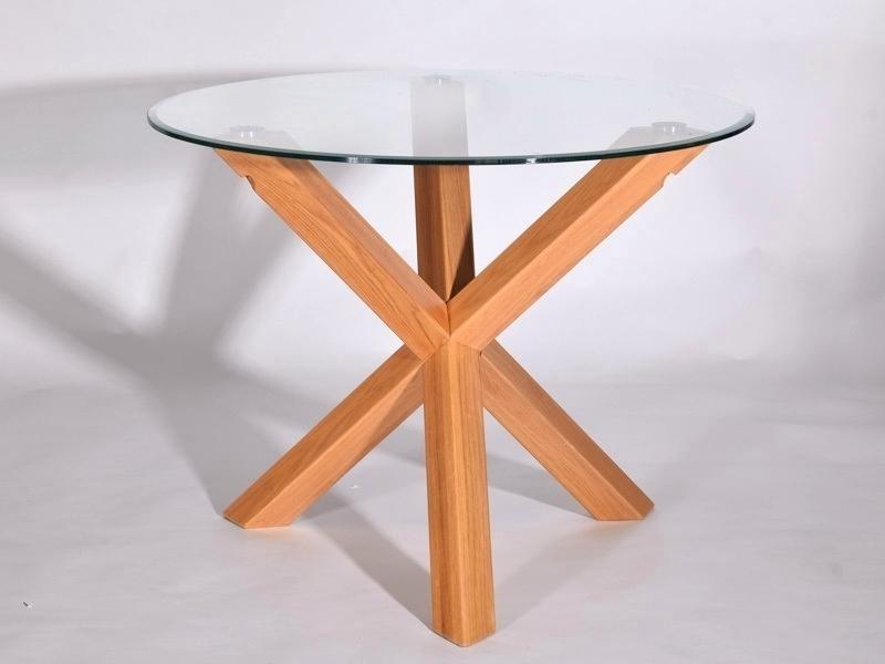 Inspiring Table Tfw Cm Glass Oak Utah Round Solid Oak Dining Table Regarding Glass Oak Dining Tables (Image 17 of 25)