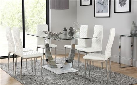 Interior White Glass Din Glass Dining Table White Chairs Best John With Glass Dining Tables White Chairs (Image 17 of 25)