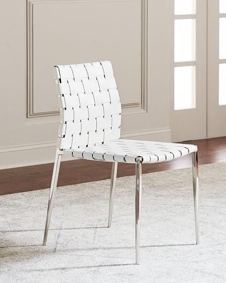 Interlude Home Kennedy Woven Leather Dining Chair, White | Neiman Marcus Intended For White Leather Dining Chairs (Image 8 of 25)