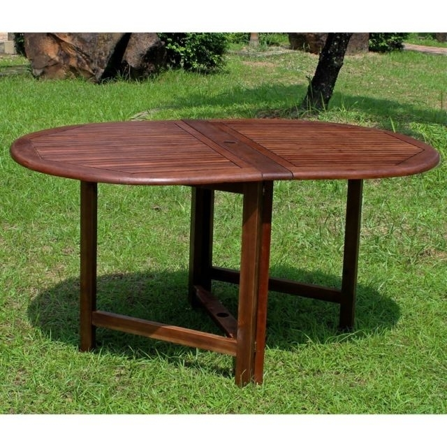 International Caravan Highland Acacia Miami Oval Gate Leg Folding inside Oval Folding Dining Tables