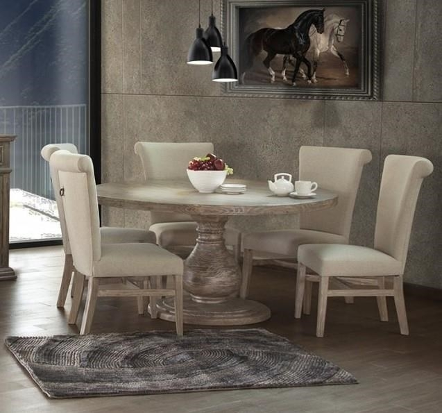 International Furniture Direct Valencia Table&6 Round Pedestal Throughout Valencia 5 Piece Round Dining Sets With Uph Seat Side Chairs (Image 17 of 25)
