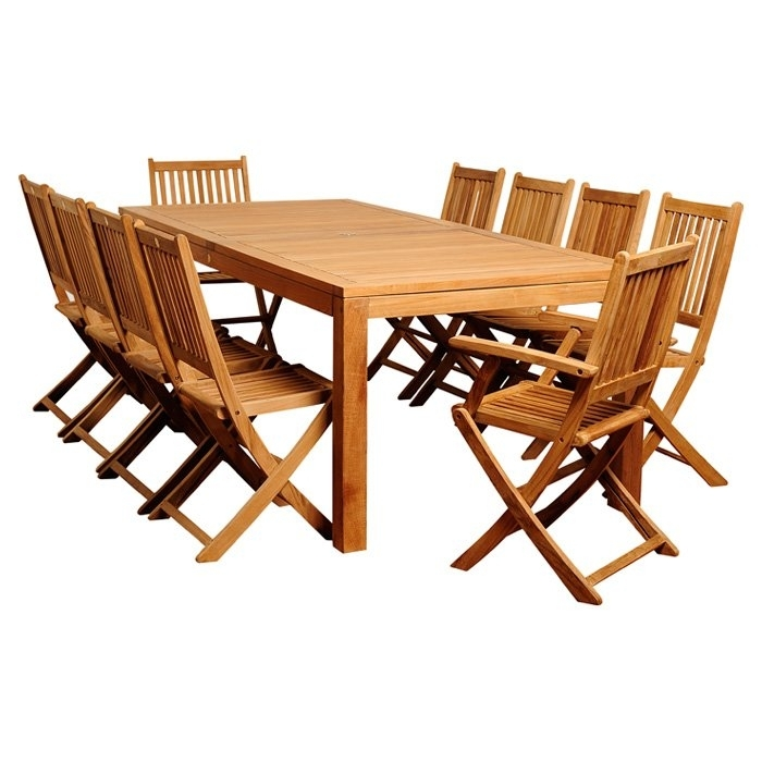 International Home Miami 11 Piece Amazonia Teak Dining Set | Wayfair For Outdoor Brasilia Teak High Dining Tables (View 21 of 25)