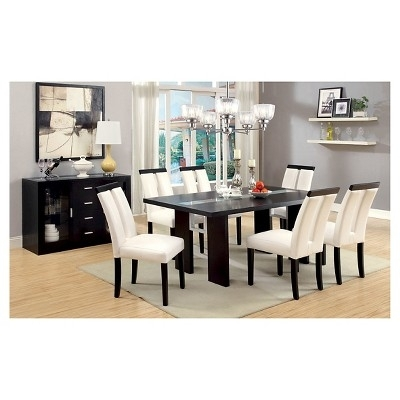 Iohomes 7Pc Glass Insert Open Shelf With Led Lights Dining Table Set For Dining Tables With Led Lights (Image 12 of 25)