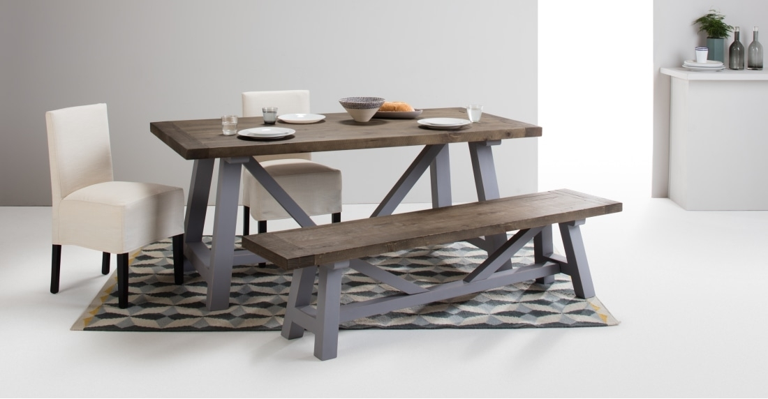 Iona Compact Dining Table, Solid Pine And Pebble Grey | Made Throughout Compact Dining Room Sets (Image 20 of 25)