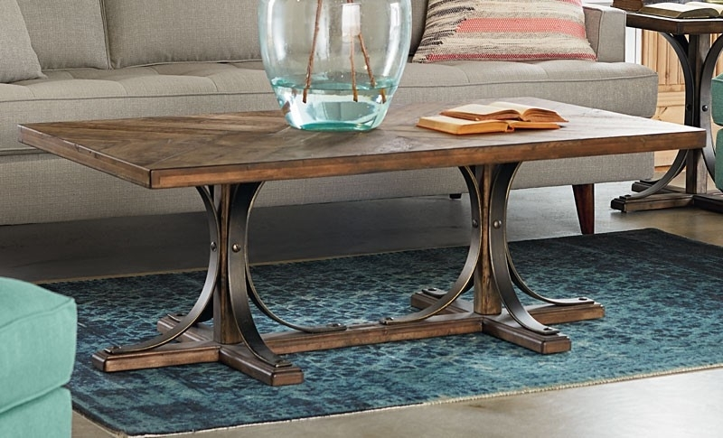 Iron Trestle Coffee Table – Living Room With Magnolia Home Sawbuck Dining Tables (Image 8 of 25)