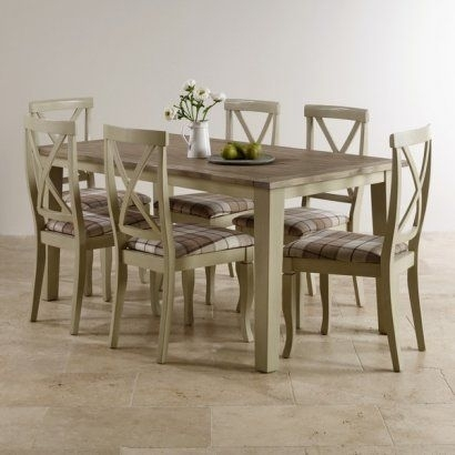 Isabella Brushed Acacia And Painted Dining Set – 5Ft Table With 6 Inside Isabella Dining Tables (View 17 of 25)