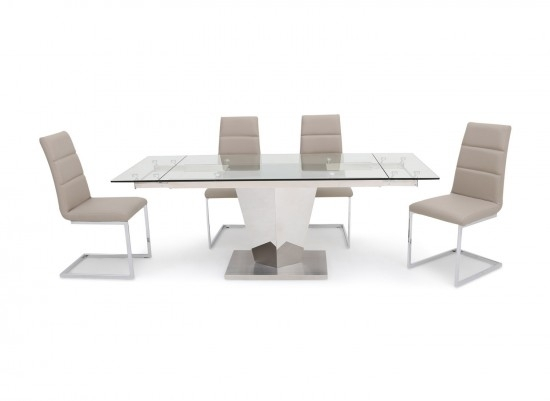 Isabella Extending Clear Glass Dining Table With 6 Zara Chairs Within Isabella Dining Tables (View 18 of 25)