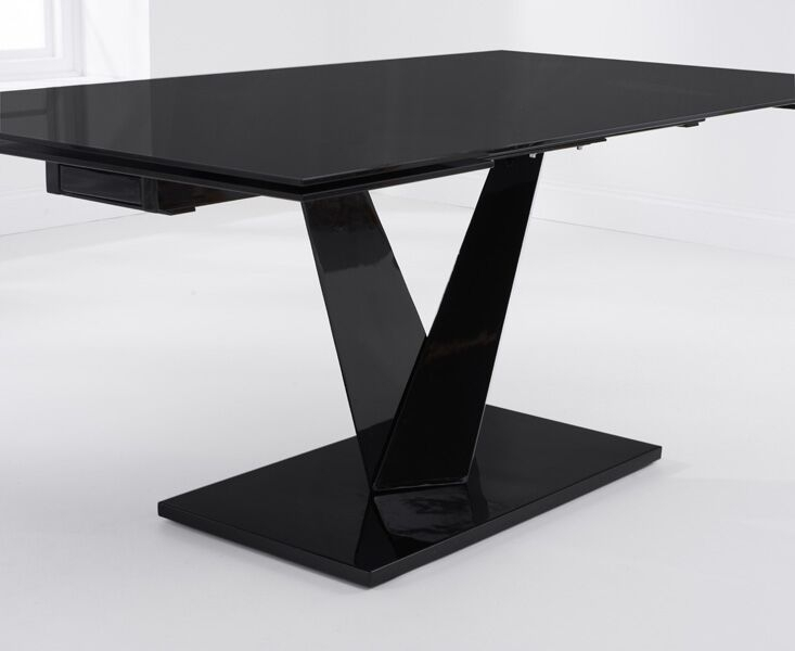 Isla 180 – 260Cm Extending Black Glass Dining Table - Not Just Beds inside Extending Black Dining Tables