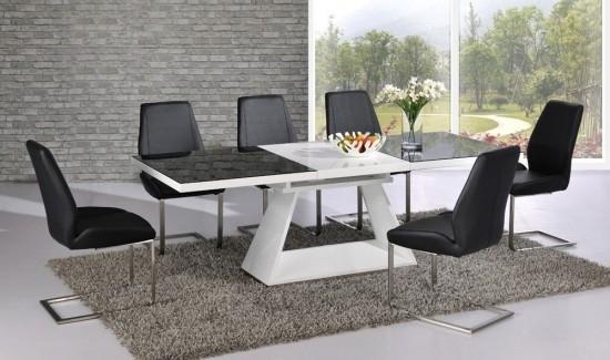 Italia Black & White High Gloss Extending Dining Table Dtx 3508Bw Inside Black Extending Dining Tables (Image 14 of 25)