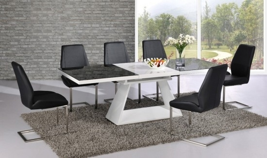 Italia Black & White High Gloss Extending Dining Table Dtx 3508Bw Pertaining To Black Gloss Extending Dining Tables (Image 10 of 25)