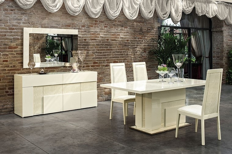 Italian Beige High Gloss Dining Room Furniture Set – Homegenies Inside Cream High Gloss Dining Tables (Image 14 of 25)