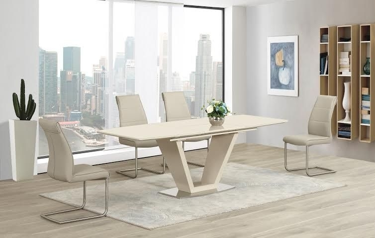 Italian Designed Lorgato Dining Table Features A Cream High Gloss Regarding High Gloss Cream Dining Tables (View 12 of 25)