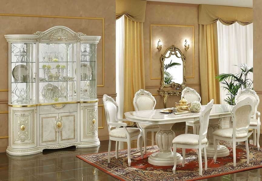 Italian Dining Set – With 6 Chairs – Plush Furnishers Ltd Regarding Cream Lacquer Dining Tables (Image 17 of 25)
