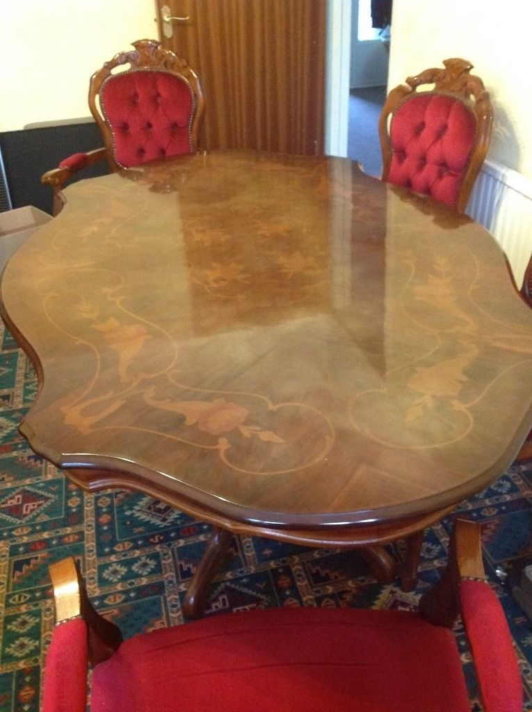 Italian Dining Table And 6 Chairs, Mahogany Rocco Style | In Swansea Regarding Rocco Extension Dining Tables (Image 11 of 25)