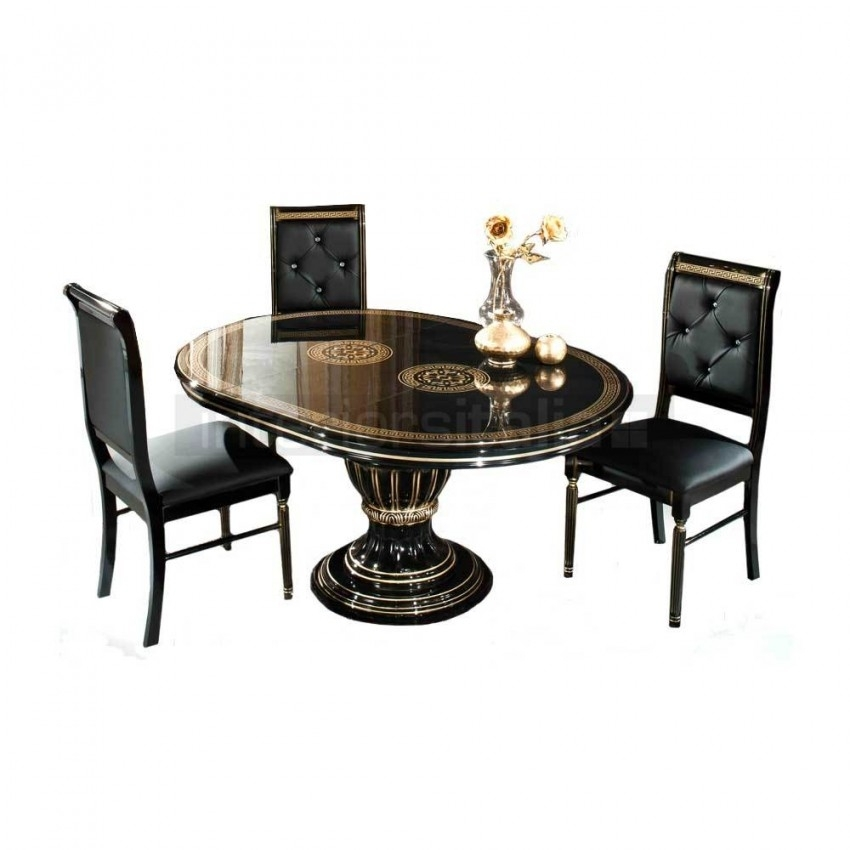 Italian Round Extending Dining Set   Caesar   Sale with Extending Black Dining Tables