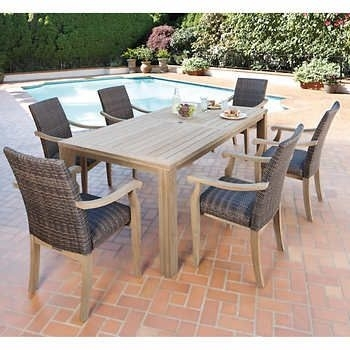 Ivena 7 Piece Teak Hardwood Dining Set   Backyard   Pinterest   Teak Within Combs 5 Piece 48 Inch Extension Dining Sets With Pearson White Chairs (Image 18 of 25)