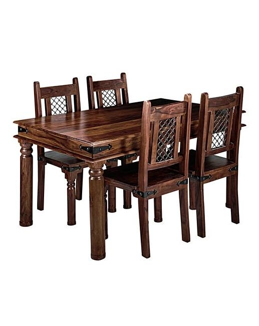 Jaipur Sheesham Dining Table & 4 Chairs | J D Williams In Sheesham Dining Tables And 4 Chairs (Image 8 of 25)