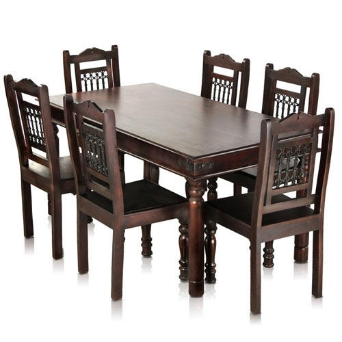 Jaipur Solid Wood Maharaja 6 Seater Dining Table Set – Mynesthome With Solid Oak Dining Tables And 6 Chairs (View 25 of 25)