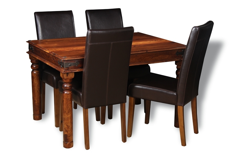 Jali 120Cm Dining Table & 4 Barcelona Dining Chairs | Trade With Sheesham Dining Tables And 4 Chairs (Photo 5 of 25)