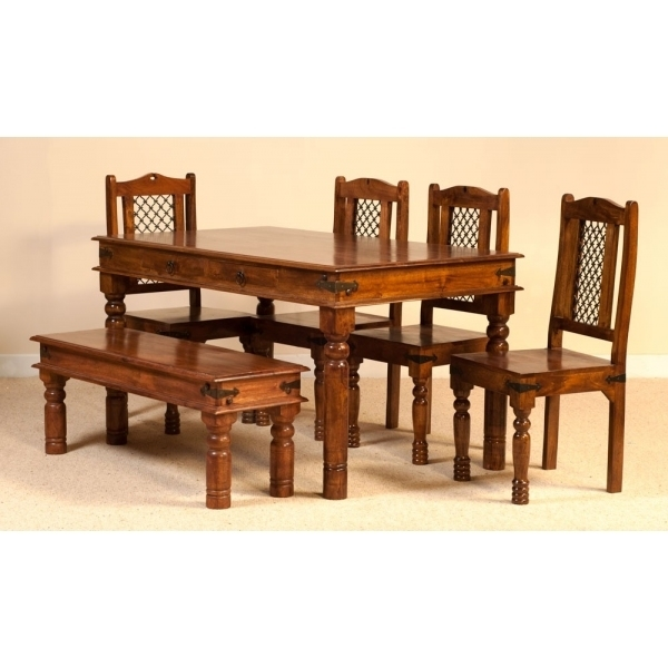 Jali Dining Set With 4 Chairs And A Bench - Sublime Exports with regard to Indian Dining Chairs