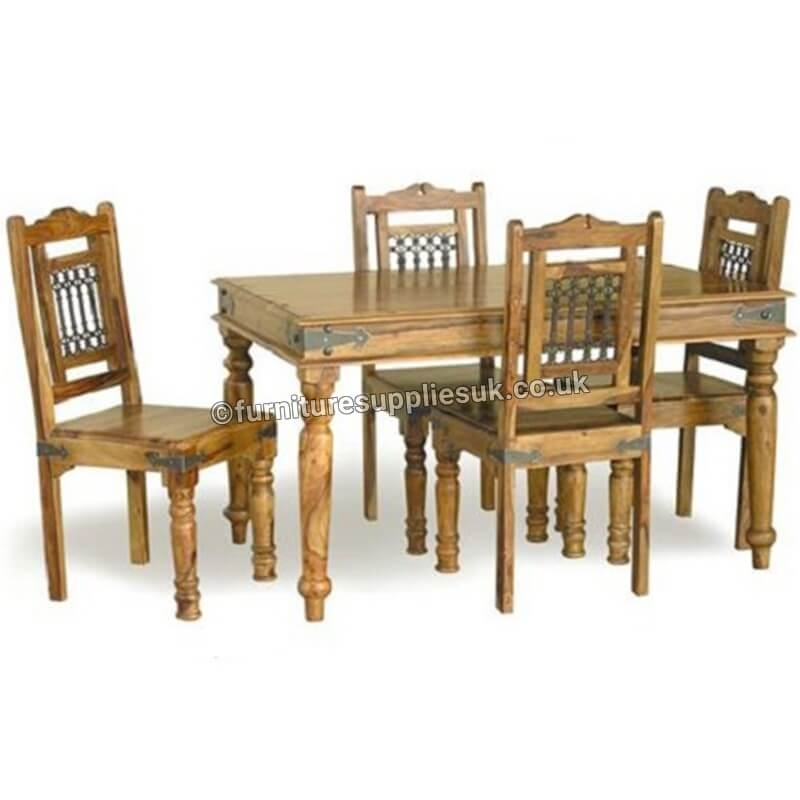 Jali Dining Table 4 Chairs 135Cm | Furniture Supplies Uk For Sheesham Dining Tables And 4 Chairs (Image 11 of 25)