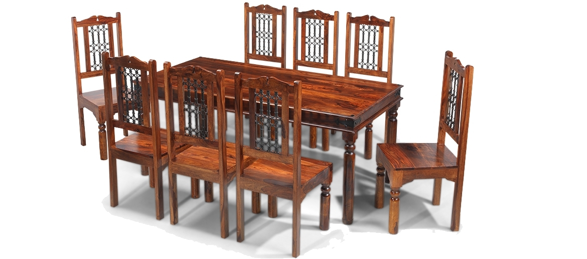 Jali Sheesham 180 Cm Thakat Dining Table And 8 Chairs | Quercus Living in Indian Style Dining Tables