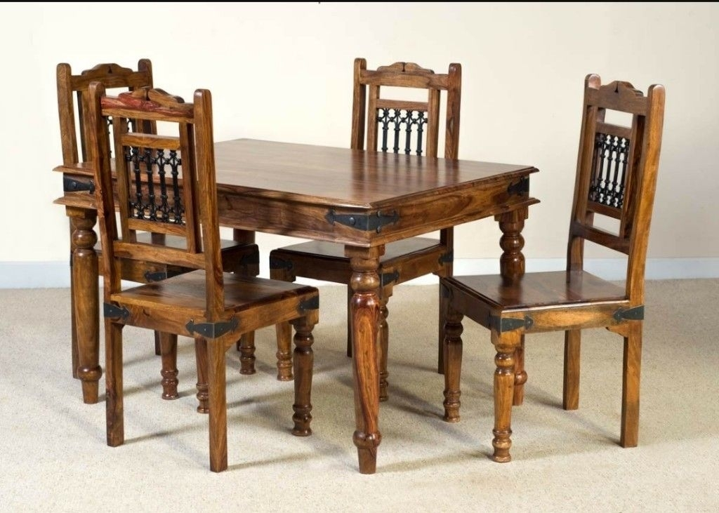 Jali Sheesham Dining Table And 4 Chairs | In Clydebank, West Throughout Sheesham Dining Tables And 4 Chairs (View 8 of 25)