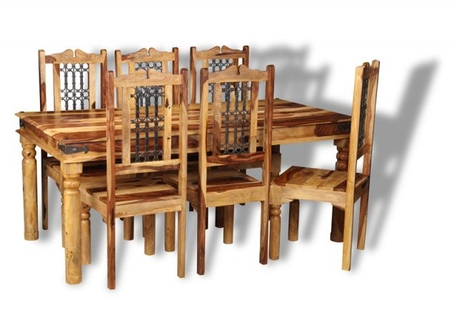 Jali Sheesham Dining Table And Chairs In Sheesham Wood Dining Chairs (Image 12 of 25)
