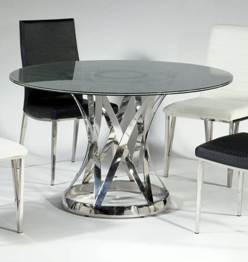 Janet Glass Stainless Steel Dining Table W/48 Inch Sandwich Glass With Regard To Glass And Stainless Steel Dining Tables (Image 15 of 25)