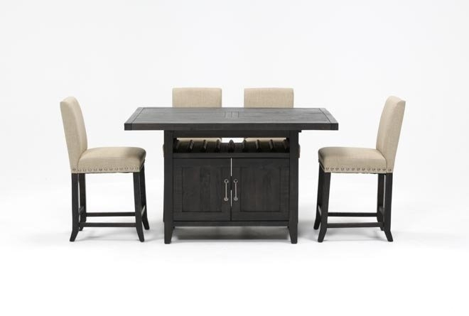 Featured Image of Jaxon Grey 5 Piece Extension Counter Sets With Fabric Stools