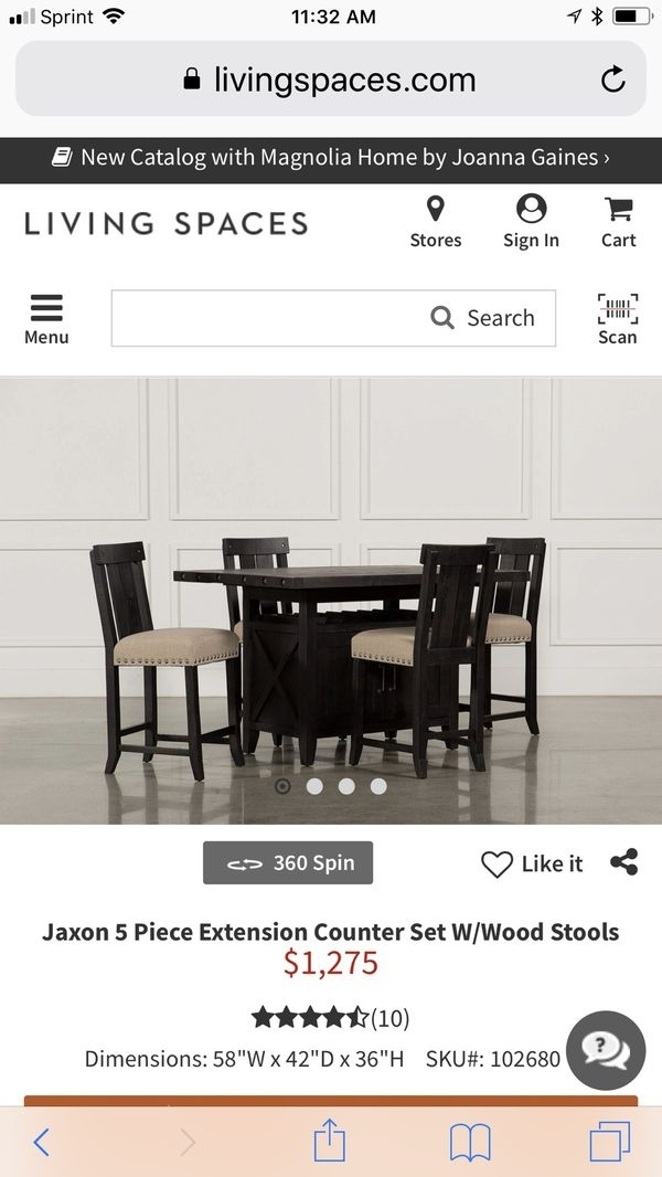Jaxon 5 Piece Extension Counter Set W/wood Stools For Sale In Perris intended for Jaxon Grey 7 Piece Rectangle Extension Dining Sets With Uph Chairs