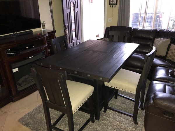 Jaxon 5 Piece Extension Counter Set W/wood Stools For Sale In Perris Regarding Jaxon Grey 5 Piece Extension Counter Sets With Fabric Stools (View 21 of 25)