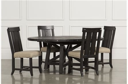 Jaxon 5 Piece Extension Round Dining Set W/wood Chairs, Café | Round For Chapleau Ii 7 Piece Extension Dining Table Sets (Image 21 of 25)
