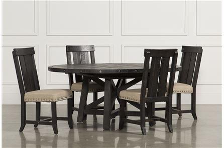 Jaxon 5 Piece Extension Round Dining Set W/wood Chairs, Café | Round With Jaxon 6 Piece Rectangle Dining Sets With Bench & Wood Chairs (Image 11 of 25)