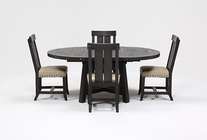 Jaxon 5 Piece Extension Round Dining Set W/wood Chairs | Living Spaces intended for Jaxon 5 Piece Round Dining Sets With Upholstered Chairs