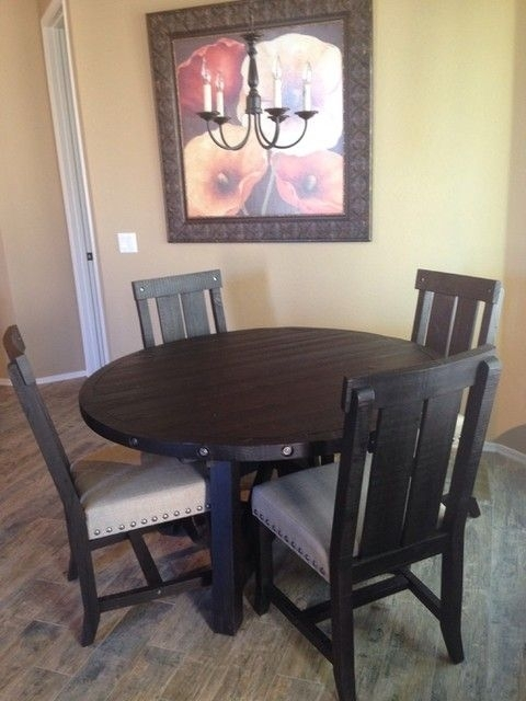 Jaxon 5 Piece Extension Round Dining Set W/wood Chairs | Round Inside Jaxon 5 Piece Extension Round Dining Sets With Wood Chairs (Photo 1 of 25)
