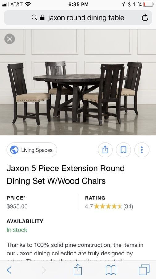 Jaxon 5 Piece Extension Round Dinning Set W/ Wood Chairs. For Sale intended for Jaxon Grey 5 Piece Round Extension Dining Sets With Wood Chairs