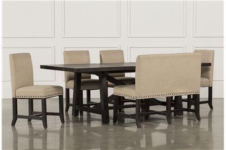 Jaxon 6 Piece Rectangle Dining Set W/bench & Wood Chairs | No Place Within Jaxon Grey 7 Piece Rectangle Extension Dining Sets With Wood Chairs (Image 12 of 25)