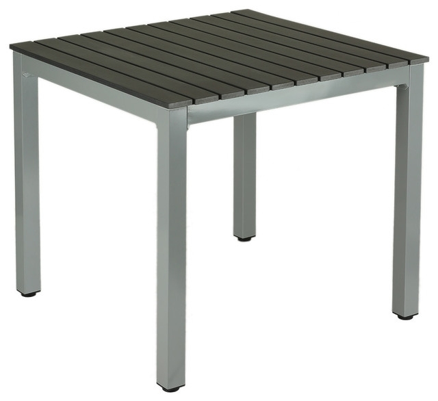 Jaxon Aluminum Outdoor Table, Poly Wood, Silver/slate Gray – Modern In Jaxon Grey 5 Piece Extension Counter Sets With Wood Stools (Image 17 of 25)