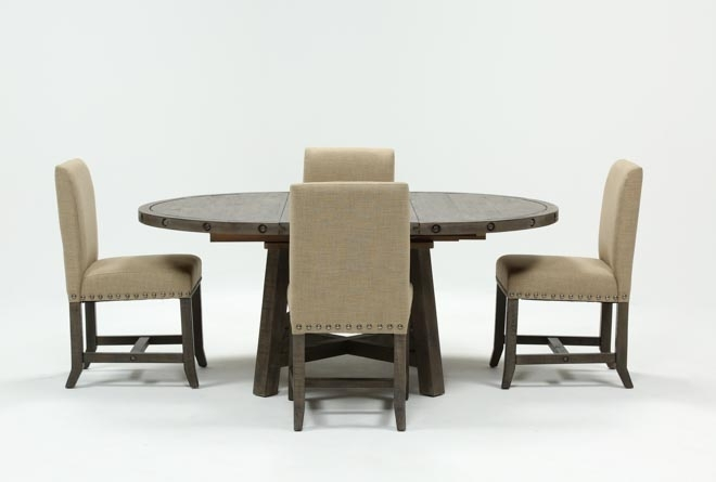 Jaxon Grey 5 Piece Round Extension Dining Set W/upholstered Chairs Throughout Jaxon Grey Round Extension Dining Tables (Image 14 of 25)