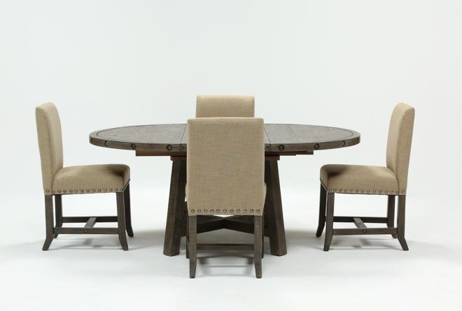 Jaxon Grey 5 Piece Round Extension Dining Set W/upholstered Chairs Within Jaxon Grey 5 Piece Round Extension Dining Sets With Upholstered Chairs (Photo 1 of 25)
