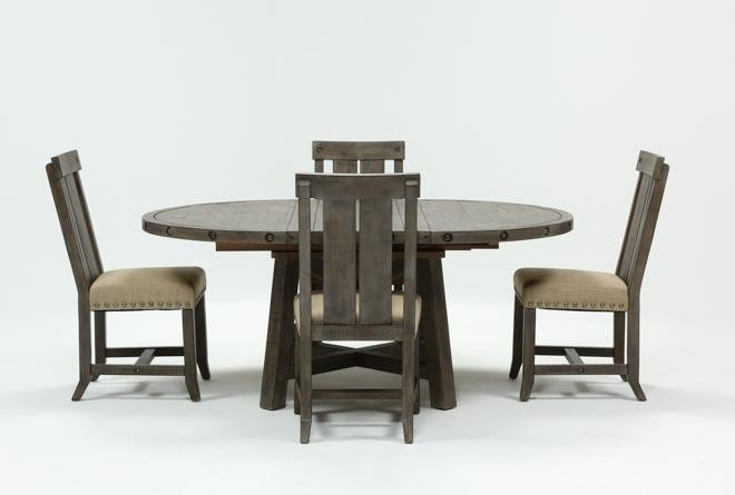 Jaxon Grey 5 Piece Round Extension Dining Set W/wood Chairs | Living intended for Jaxon Grey 5 Piece Round Extension Dining Sets With Upholstered Chairs