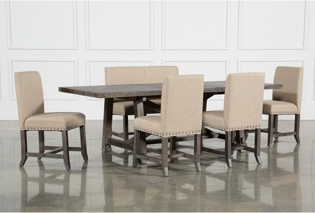 Featured Image of Jaxon 6 Piece Rectangle Dining Sets With Bench & Wood Chairs