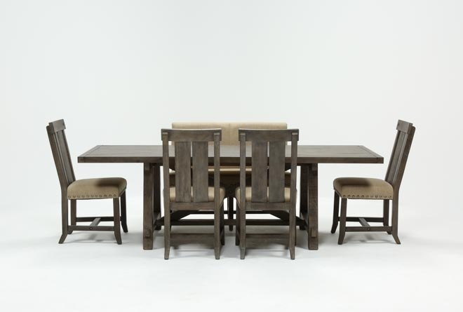 Jaxon Grey 6 Piece Rectangle Extension Dining Set W/bench & Wood For Jaxon Grey Rectangle Extension Dining Tables (Image 17 of 25)