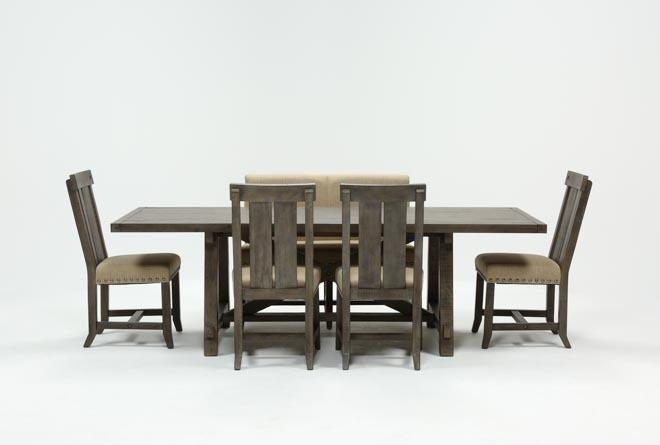 Jaxon Grey 6 Piece Rectangle Extension Dining Set W/bench & Wood Pertaining To Jaxon Grey 6 Piece Rectangle Extension Dining Sets With Bench & Uph Chairs (Photo 2 of 25)