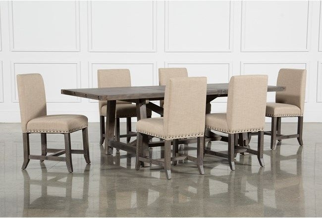 Jaxon Grey 7 Piece Rectangle Extension Dining Set W/uph Chairs In Jaxon Grey 5 Piece Round Extension Dining Sets With Wood Chairs (Image 14 of 25)