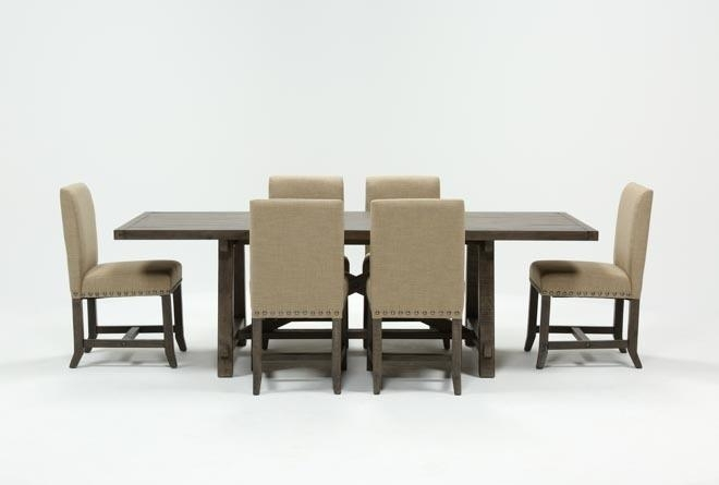 Jaxon Grey 7 Piece Rectangle Extension Dining Set W/uph Chairs Throughout Combs 5 Piece 48 Inch Extension Dining Sets With Mindy Side Chairs (Photo 9 of 25)