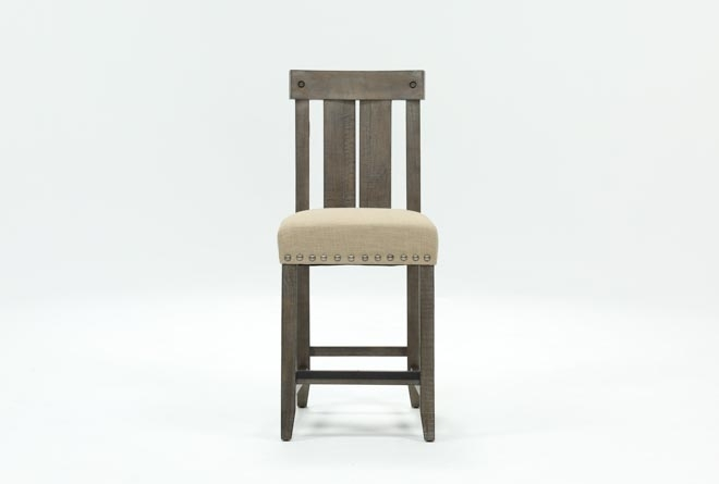 Jaxon Grey Wood Counterstool | Living Spaces Throughout Jaxon Grey 5 Piece Extension Counter Sets With Fabric Stools (Image 16 of 25)